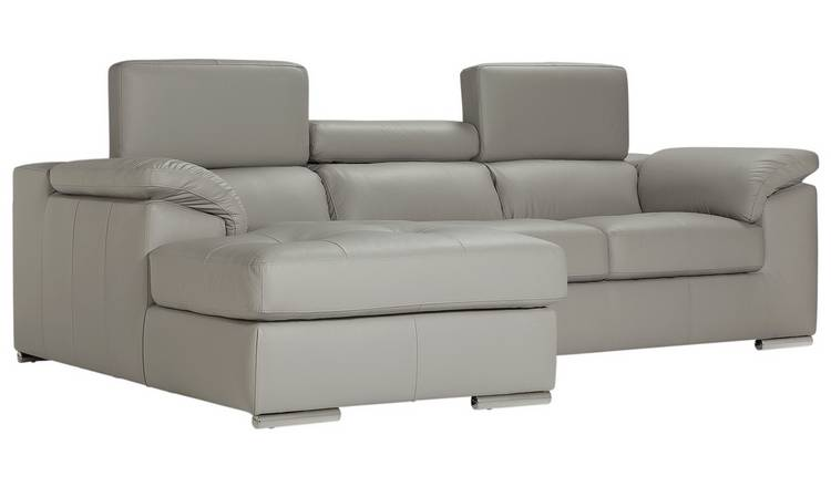 Buy Argos Home Valencia Left Corner Leather Sofa - Light Grey | Sofas |  Argos