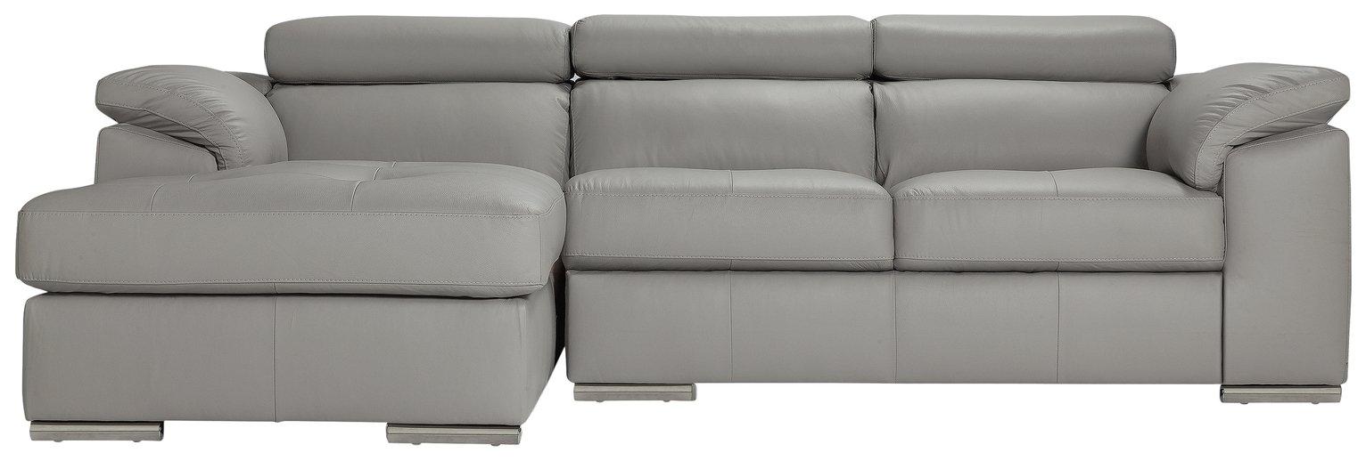 Argos Home Valencia Left Corner Leather Sofa - Light Grey (4830379 ...