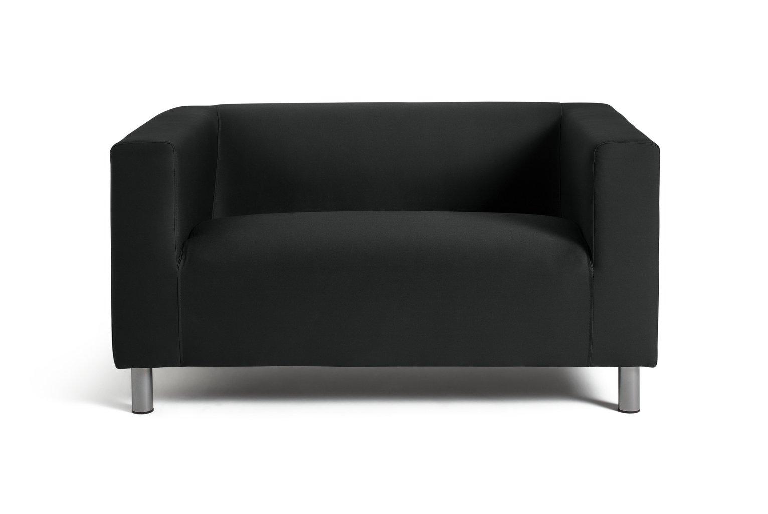 HOME Moda Compact 2 Seater Fabric Sofa   Black