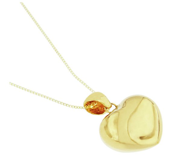 Buy bracci 9ct gold solid look puffed heart pendant necklace click to zoom aloadofball Images