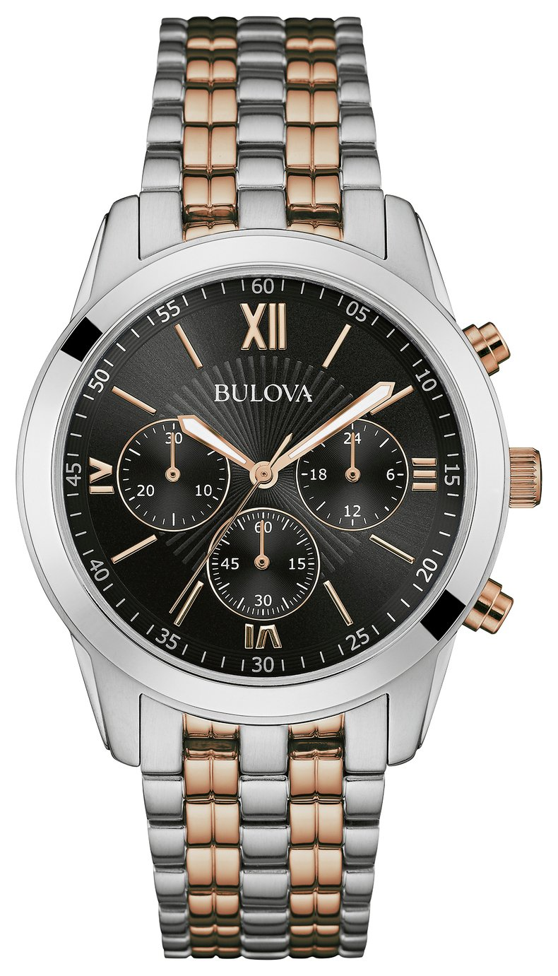 Image of Bulova - Mens Two Tone Chrono Stainless Steel Bracelet - Watch
