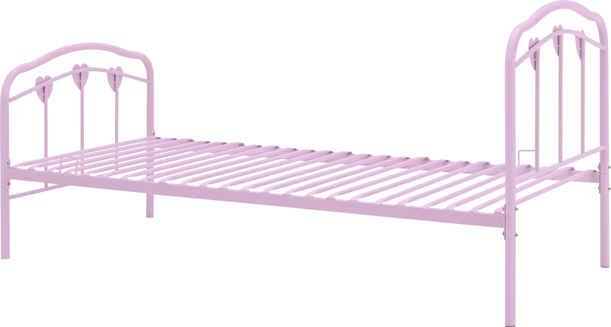 Hearts Single Four Poster Bed With Ashley Mattress Pink