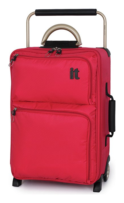 IT Worlds Lightest - Small Wheel Suitcase & Travel Liquid Bag - Red