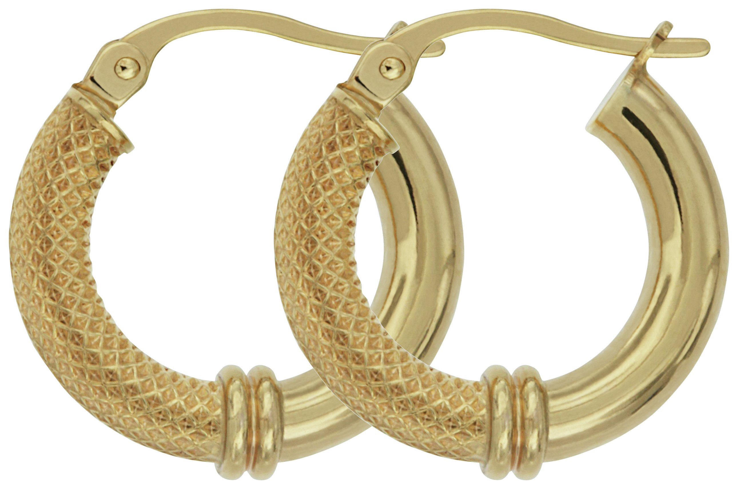 Image of Bracci - 9 Carat Gold - Textured - Hoop Earrings.