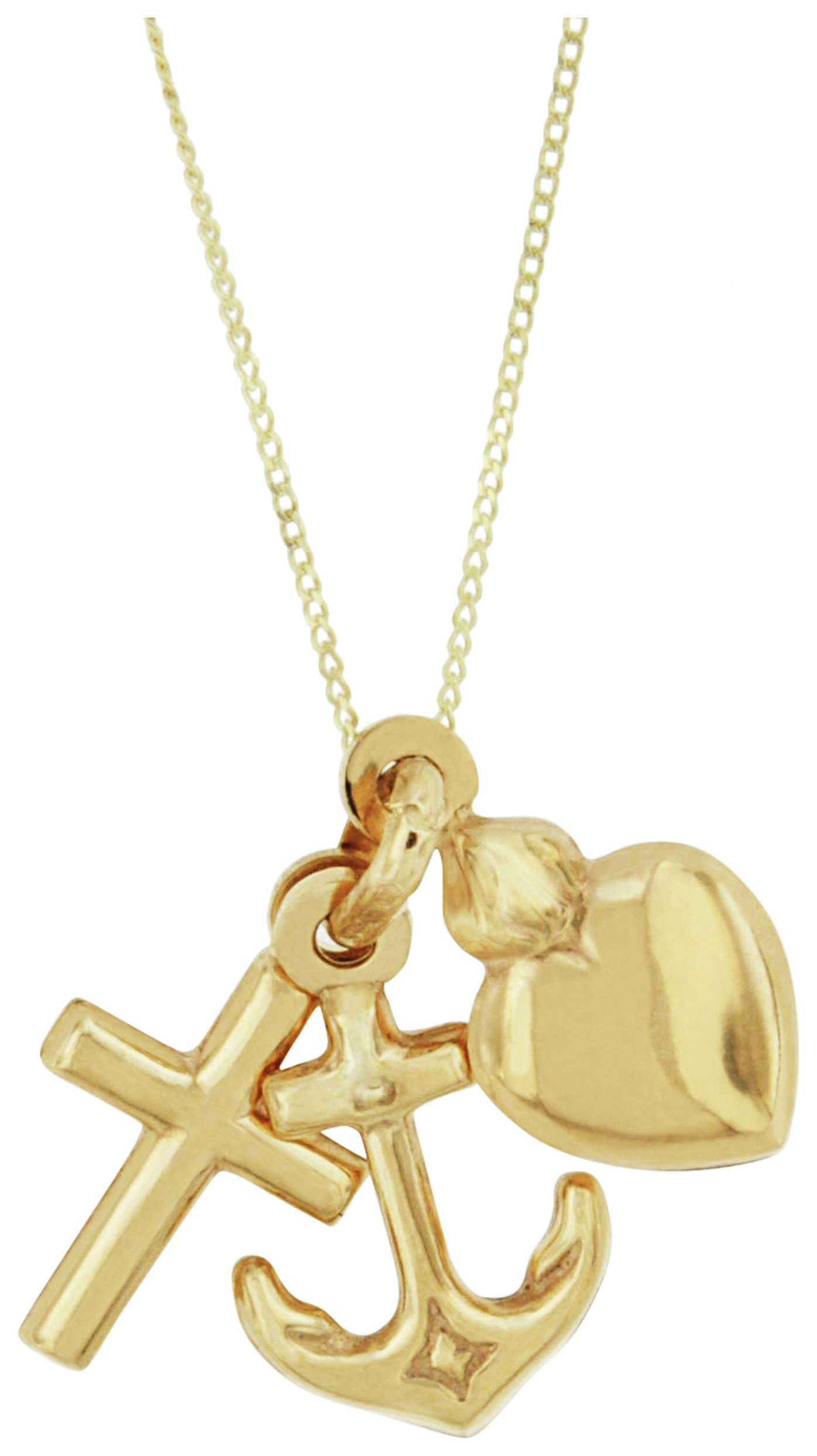 Image of Bracci - 9 Carat Gold - Heart, Anchor and Cross Solid Look Pendant.