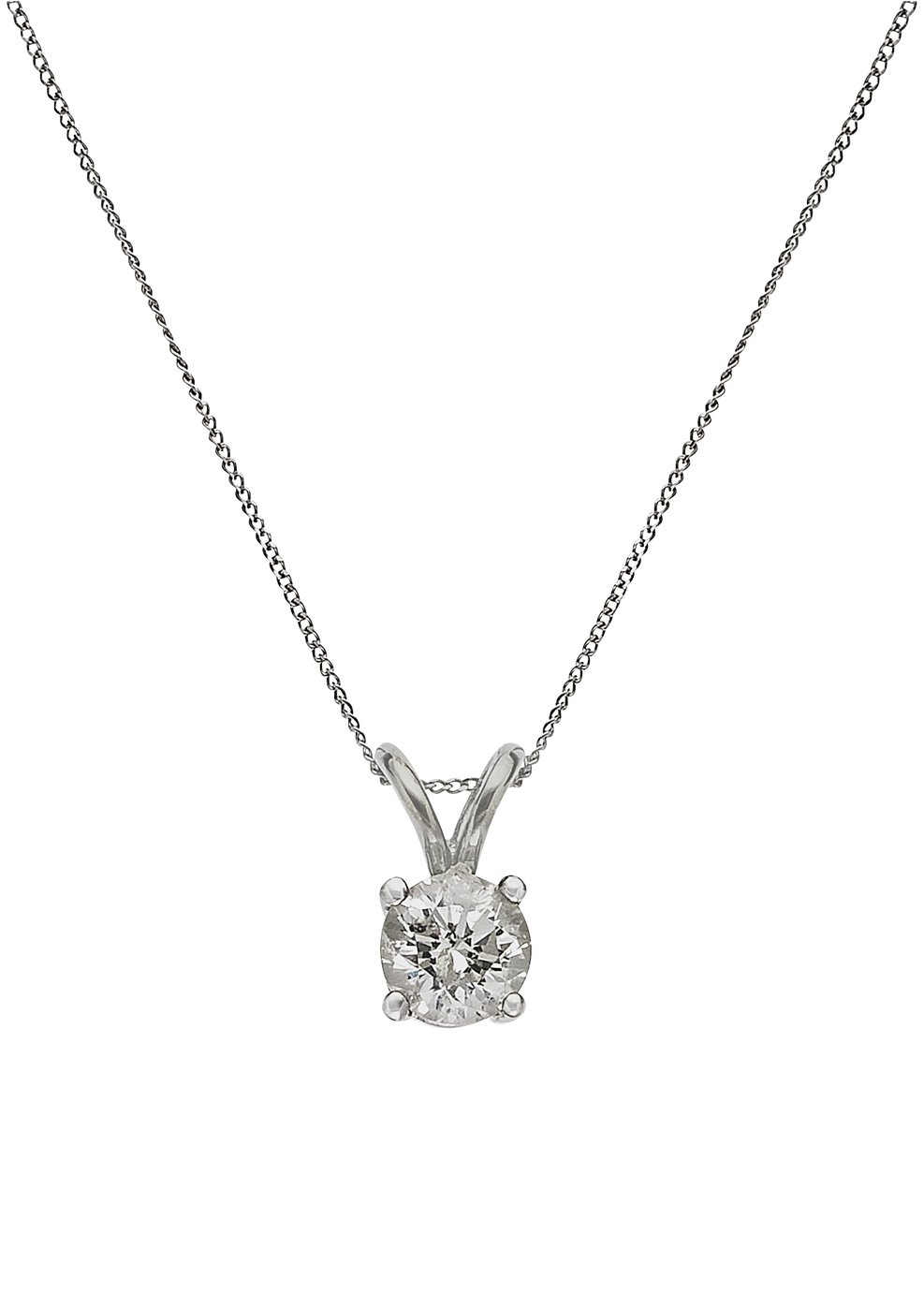 9 Carat White Gold - 0.50 Carat Diamond Solitaire Pendant.