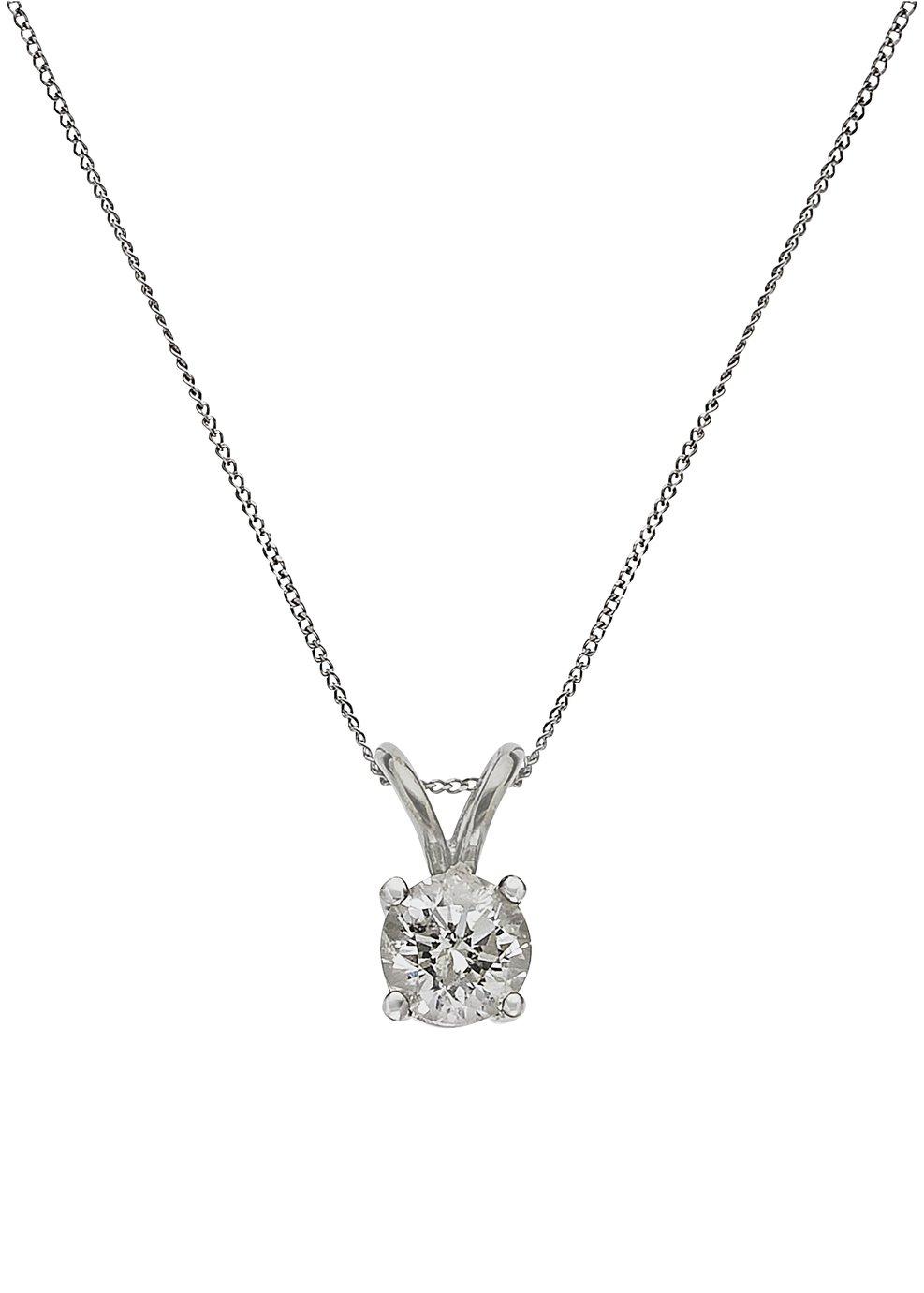 Revere 9ct White Gold Diamond Pendant 18 Inch Necklace