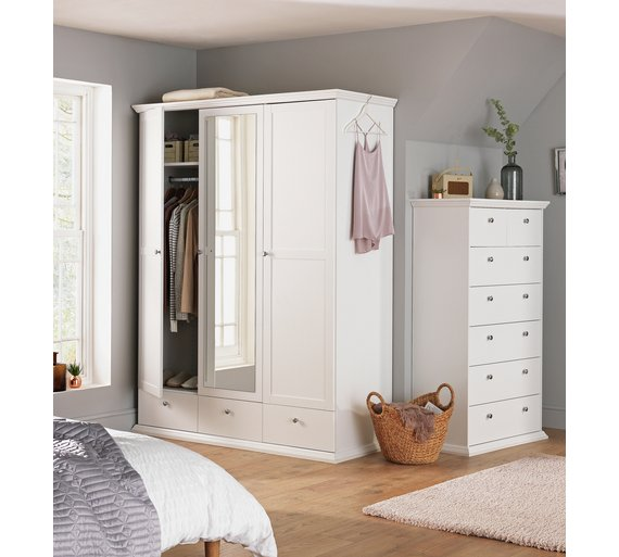 Buy Home Canterbury 3 Door 3 Drawer Mirrored Wardrobe White At Your Online Shop