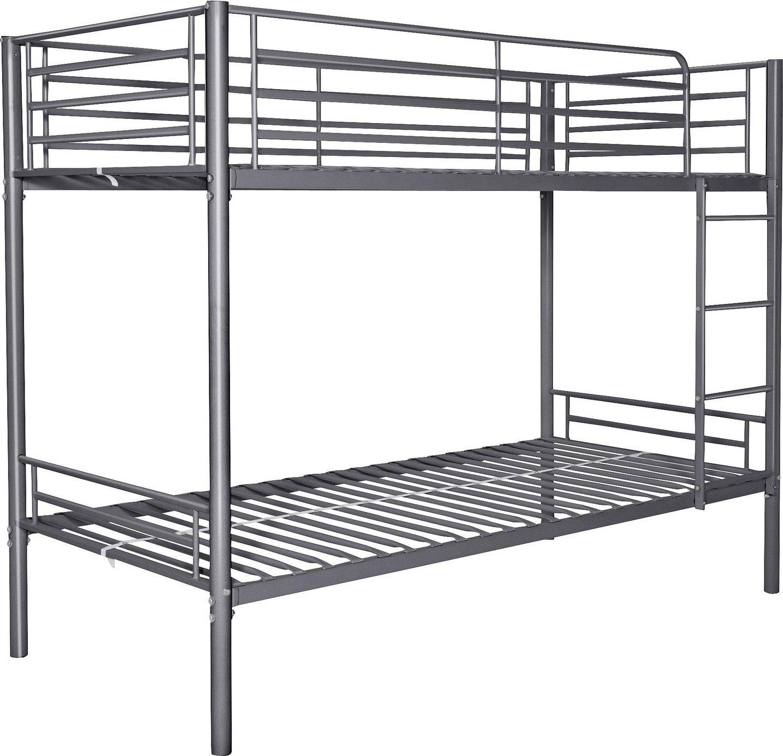 Argos Home Samuel Silver Single Bunk Bed & 2 Kids Mattresses