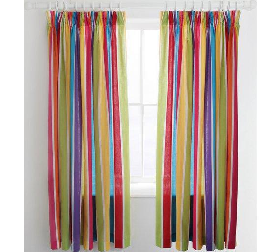 Buy ColourMatch Kids' Stripe Blackout Curtains - 168 x 137cm at ...