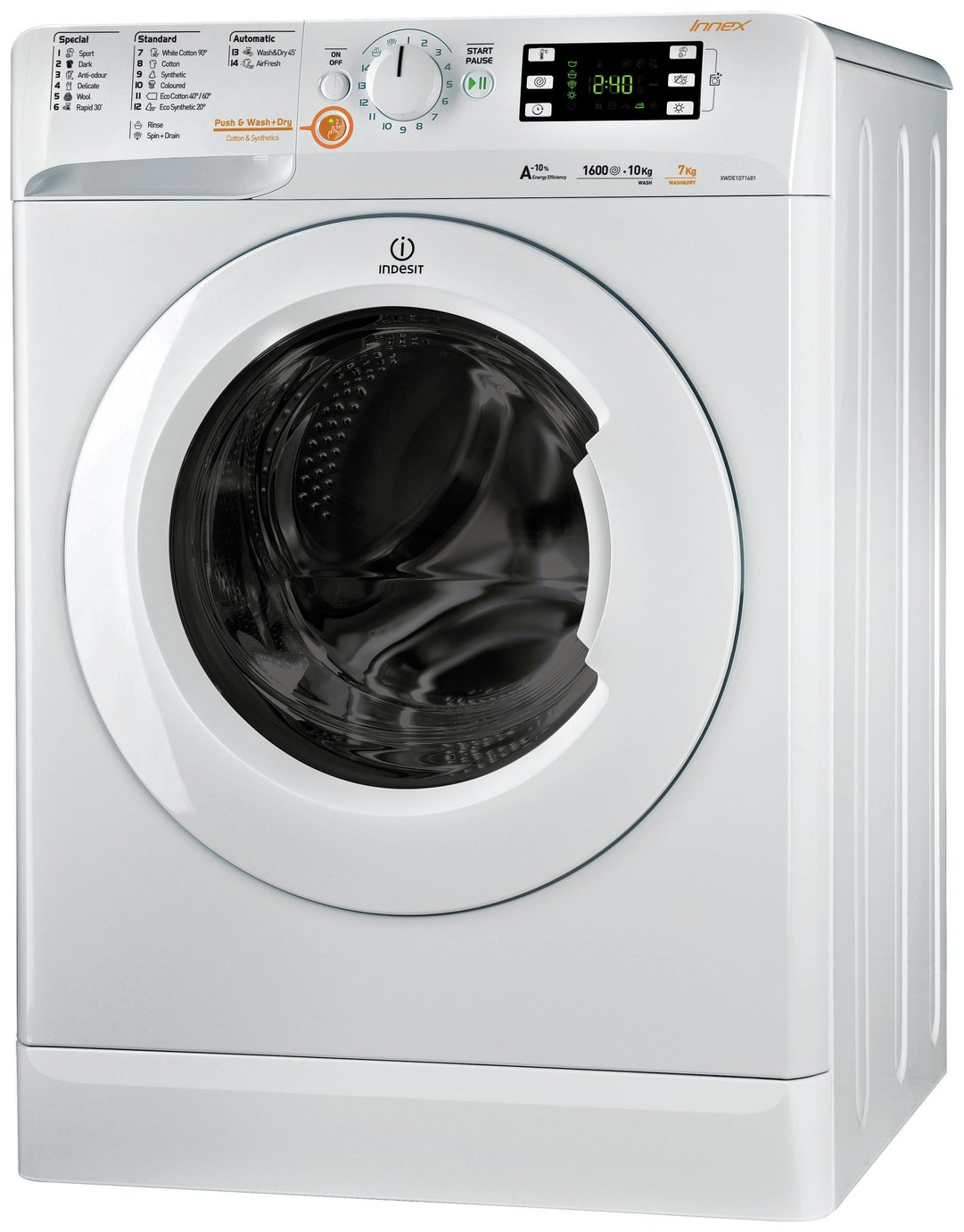 Indesit XWDE75140XW 7KG / 5KG 1400 Spin Washer Dryer - White