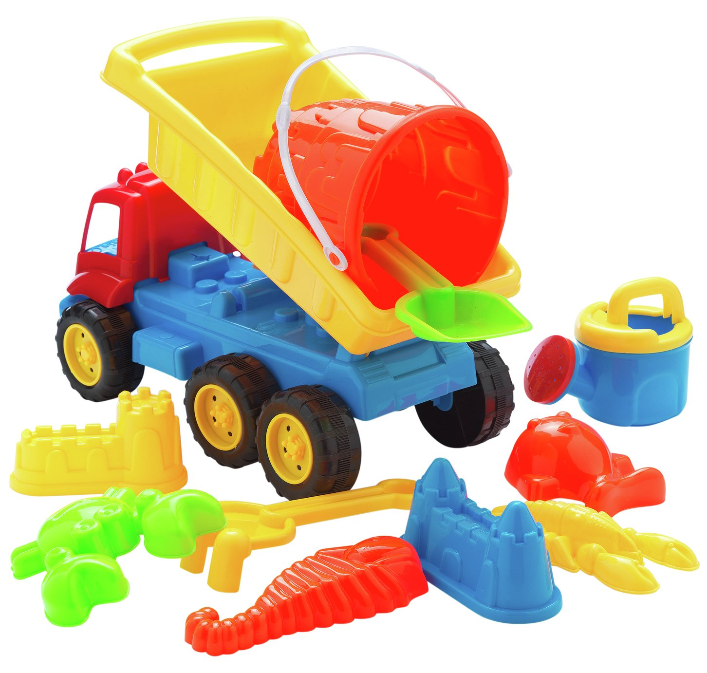 Image of Chad Valley 11 Pieces Sand Truck Bucket and Spade Set