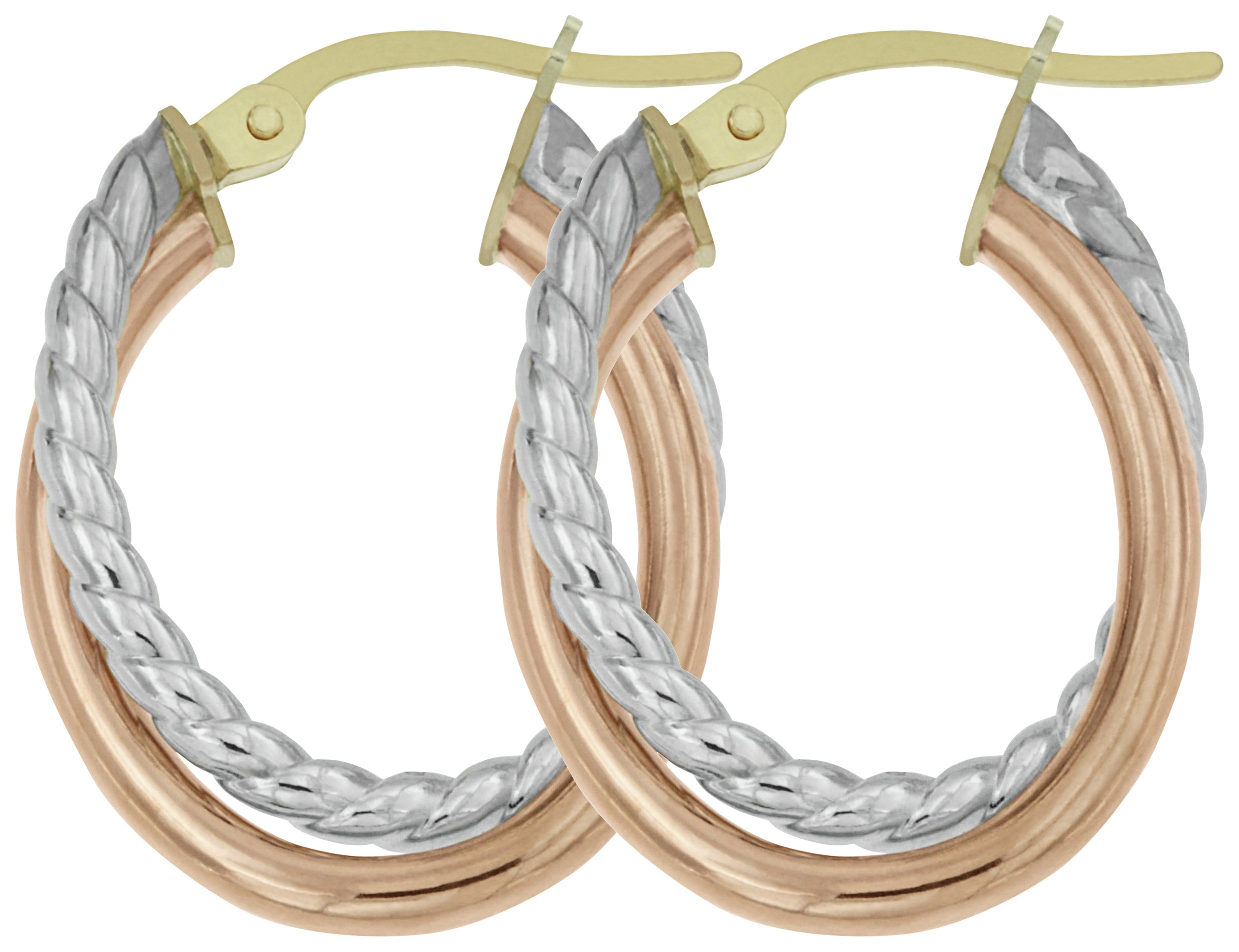 Image of Bracci - 9 Carat 2 Colour Gold - Twist Creole - Hoop Earrings.