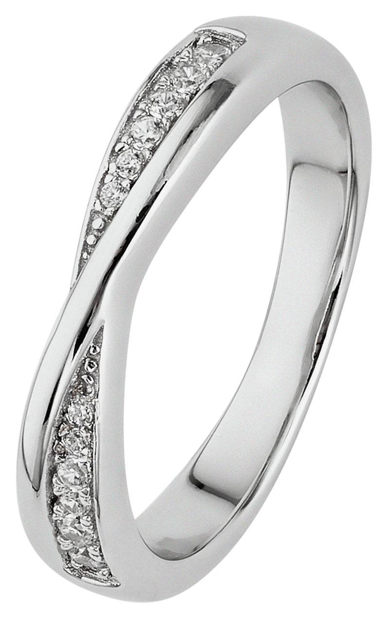 Revere Sterling Silver Crossover Half Eternity Ring - N