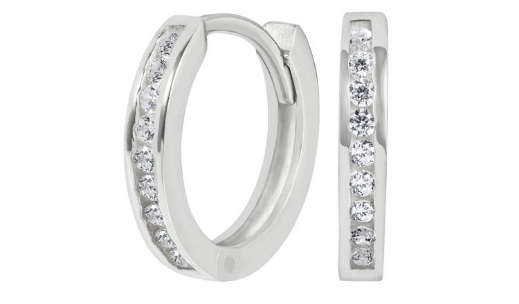 Revere Sterling Silver Cubic Zirconia Huggie Hoop Earrings