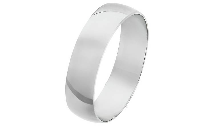 Revere 9ct White Gold D-Shape Wedding Ring - 5mm - P