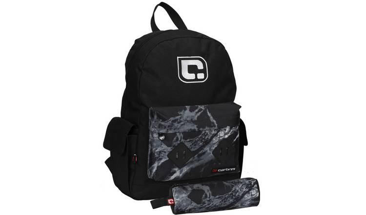 Carbrini 20L Backpack and Pencil Case - Black Marble