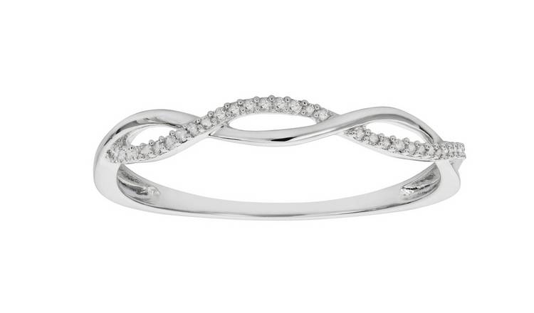 Revere Sterling Silver 0.06ct tw Diamond Twist Ring - O