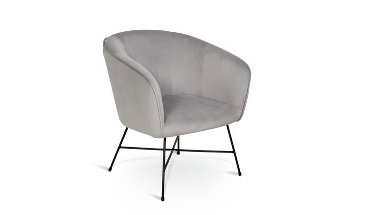 Habitat Jax Velvet Accent Chair - Silver