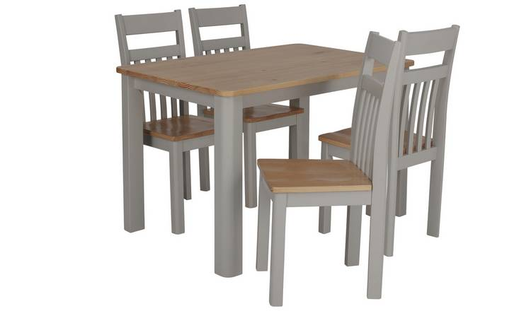 Argos Home Bournemouth Solid Wood Table & 4 Two Tone Chairs