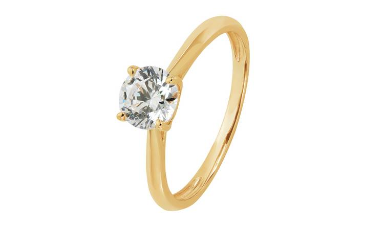 Revere 9ct Gold Cubic Zirconia Solitaire Ring - T