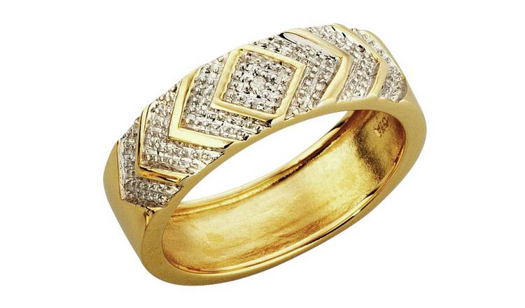 Revere Mens 9ct Gold Diamond Accent Commitment Ring - V