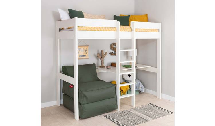 Stompa White High Sleeper Bed Frame, Desk & Khaki Chairbed