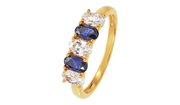 Revere 9ct Gold Plated Cubic Zirconia 5 Stone Ring - M