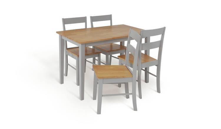 Habitat Chicago Solid Wood Dining Table & 4 Grey Chairs