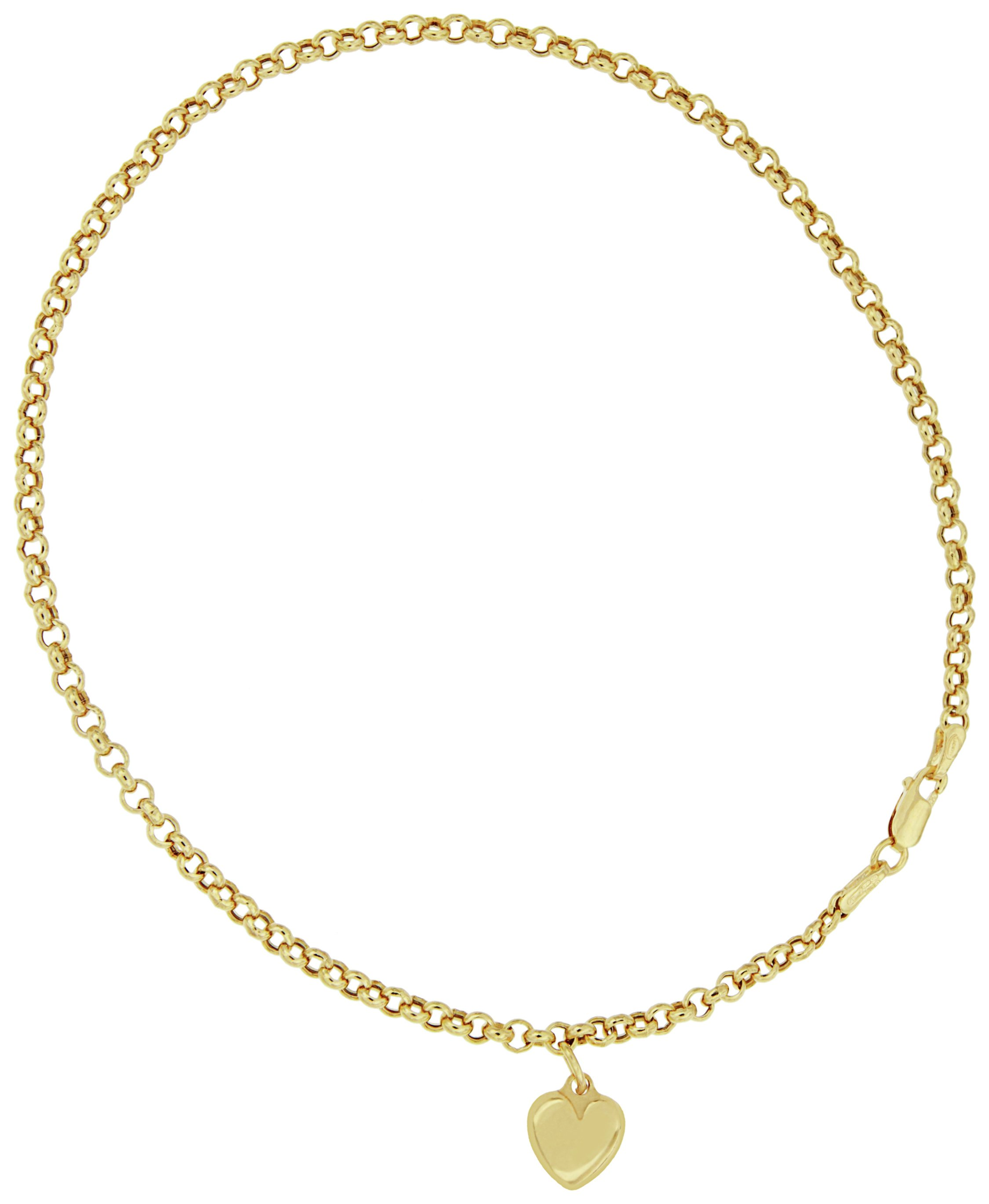Bracci - 9 Carat Gold - Puffed Heart Charm Anklet.