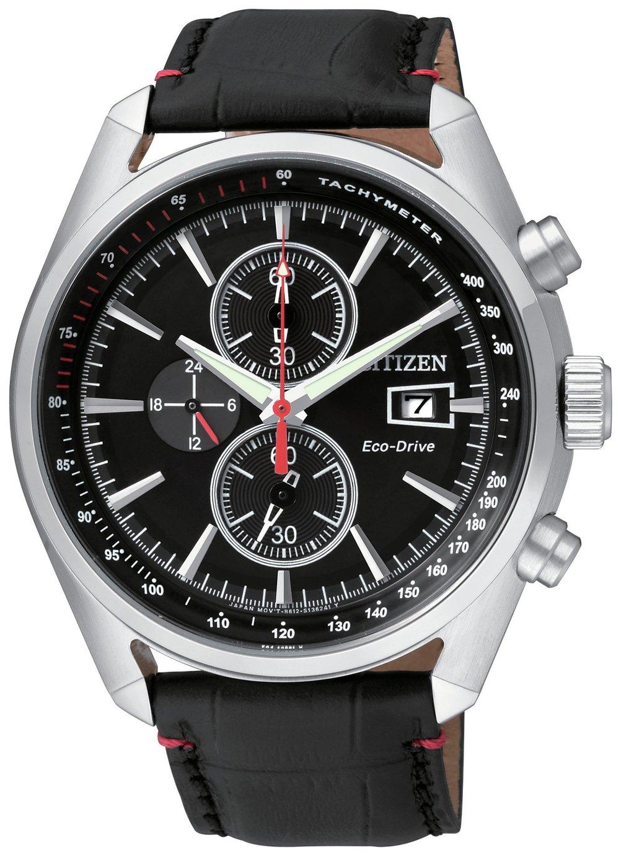 Citizen Eco-Drive Men's Black Leather Chronograph Watch