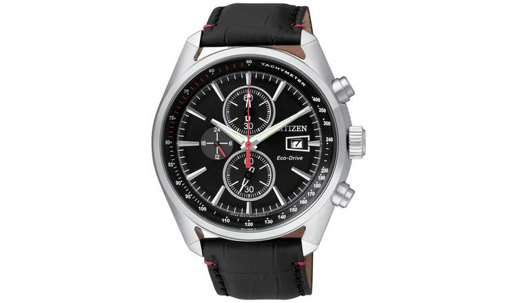 Citizen Eco-Drive Mens Chronograph Black Leather Strap Watch