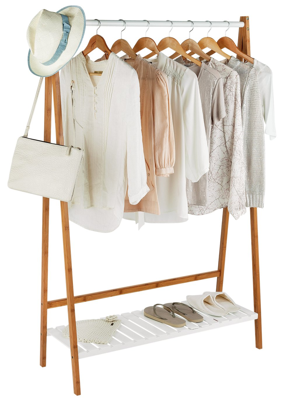 Image of Collection Belvoir Clothes Rail with Shelf - Bamboo & White