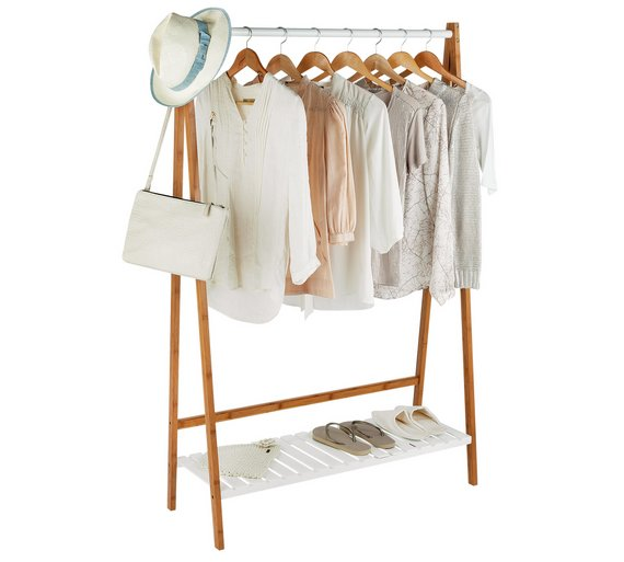 Collection Belvoir Clothes Rail With Shelf Bamboo White