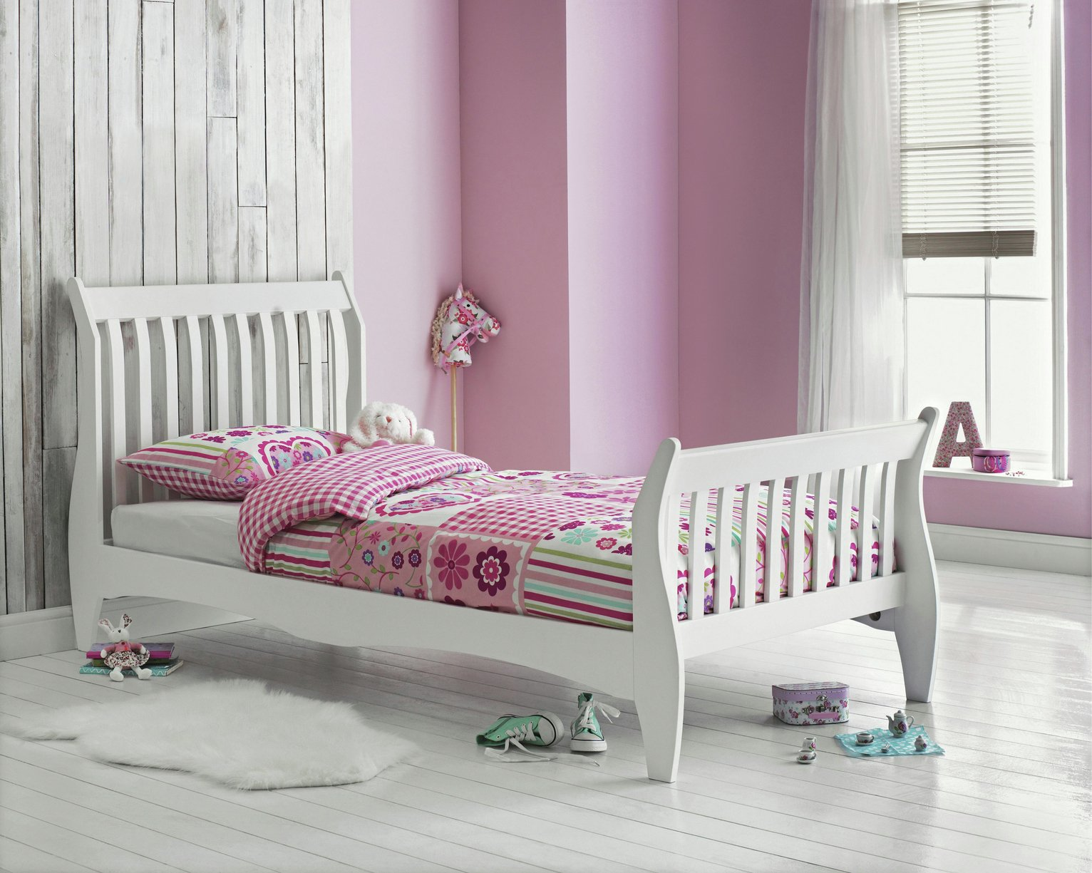 Argos Home Daisy White Single Sleigh Bed & Kids Mattress