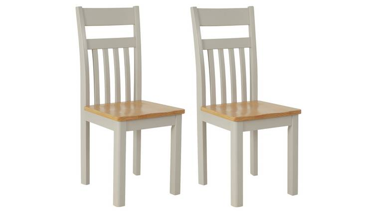 Argos Home Bournemouth Pair of Wood Dining Chairs - Two Tone