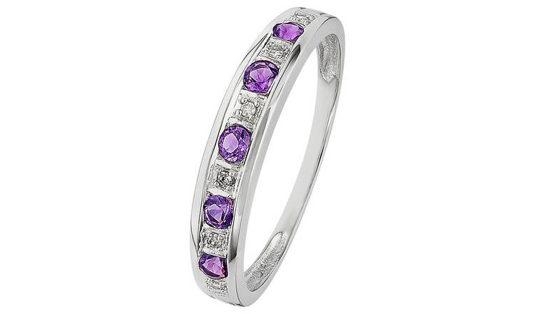 Revere 9ct White Gold Amethyst & Diamond Eternity Ring - J
