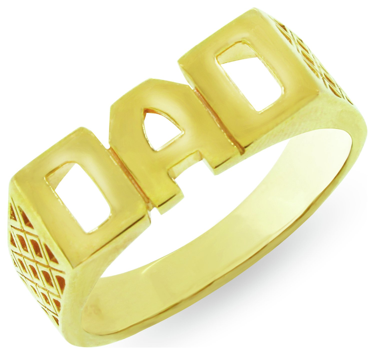 Revere Mens 9ct Gold Plated Sterling Silver 'Dad' Ring - T