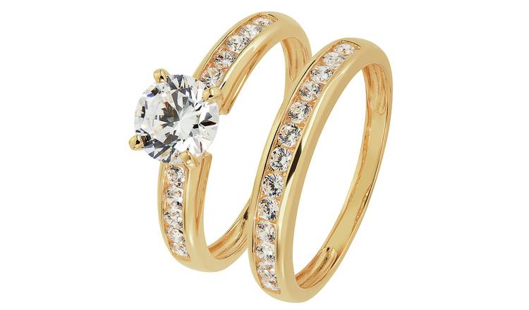 Revere 9ct Gold Cubic Zirconia Solitaire Bridal Ring Set - S