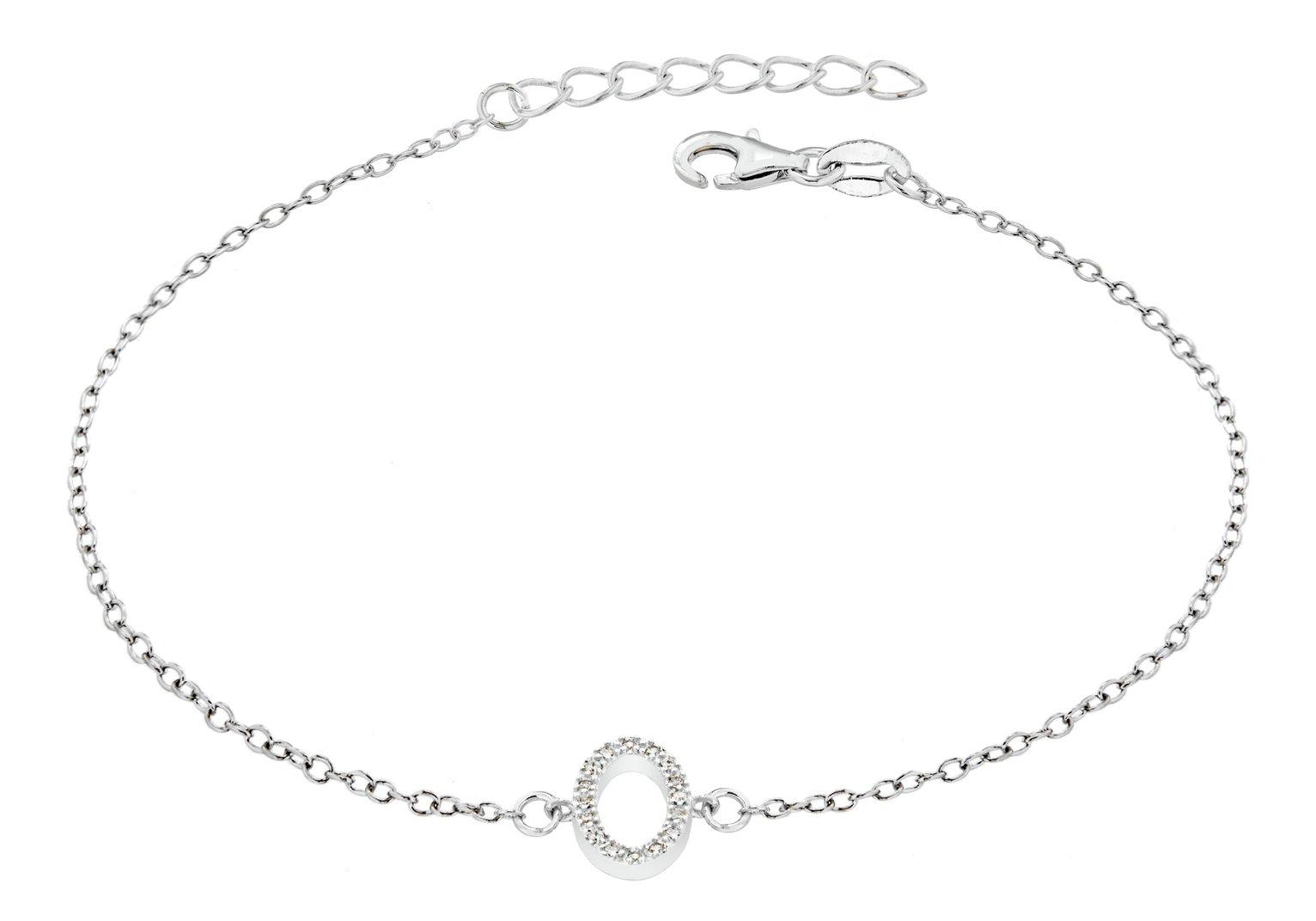 Sterling Silver Cubic Zirconia Initial Bracelet - O