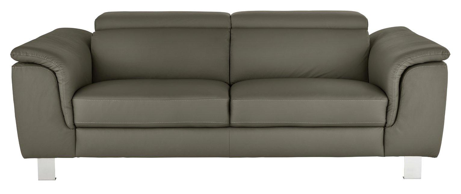 Argos Home Boutique 3 Seater Faux Leather Sofa - Grey