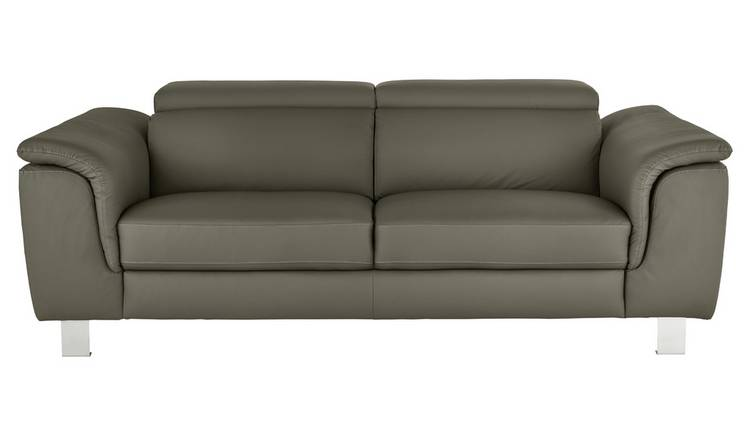 Argos Home Boutique 3 Seater Faux Leather Sofa - Grey