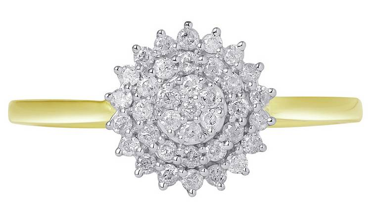 Revere 9ct Gold Diamond Cluster Ring - H