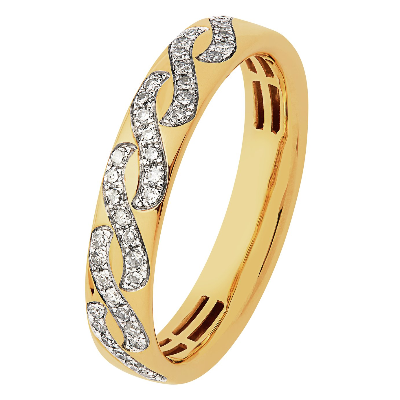 Revere 9ct Gold 0.18ct tw Diamond Wave Band Ring - N