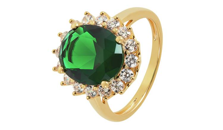 Revere 9ct Gold Plated Cubic Zirconia Halo Ring - I