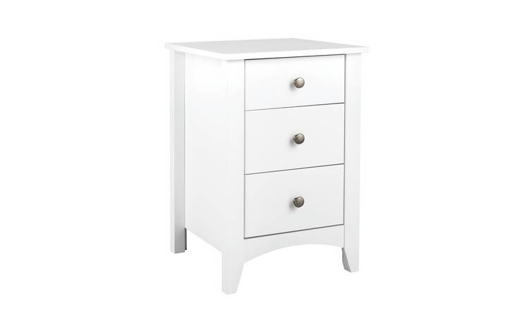 Argos Home Minato 3 Drawer Bedside Table - White