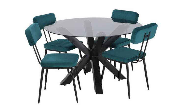 Argos Home Alden Smoked Glass Dining Table & 4 Teal Chairs