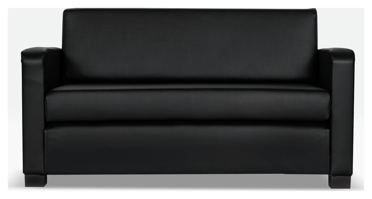 Argos Home Lucy 2 Seater Faux Leather Sofa Bed - Black