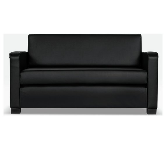 Buy home lucy 2 seater leather effect sofa bed black at for Sofa bed 2 seater uk