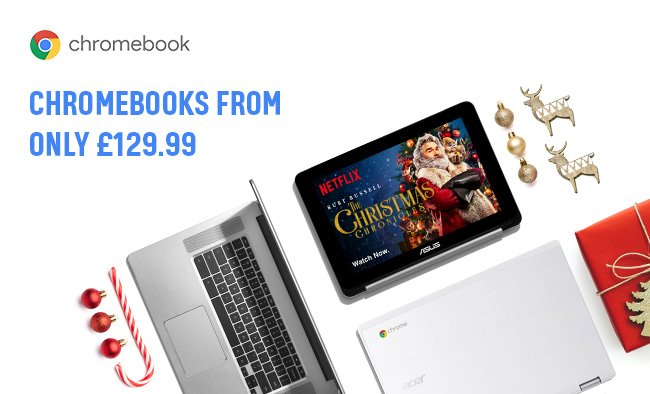 Google Chromebooks from only £129.99.